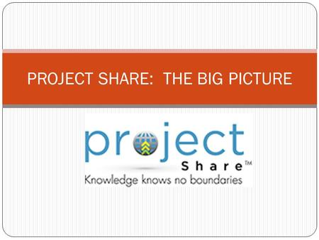 PROJECT SHARE: THE BIG PICTURE. Karen Teeters Need Help with Project Share or OnTrack ?