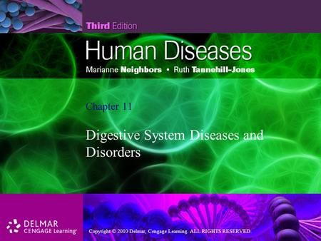 Copyright © 2010 Delmar, Cengage Learning. ALL RIGHTS RESERVED. Chapter 11 Digestive System Diseases and Disorders.