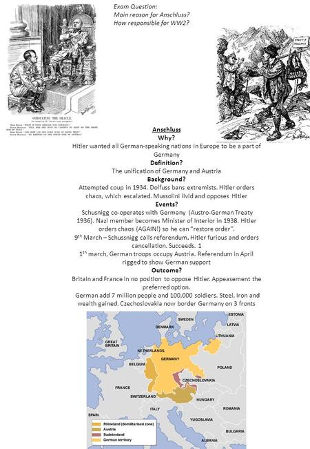 Anschluss Why? Hitler wanted all German-speaking nations in Europe to be a part of Germany Definition? The unification of Germany and Austria Background?
