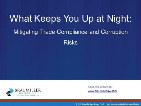 © 2013 Braumiller Law Group, PLLC Any copying or distribution is prohibited. What Keeps You Up at Night: Mitigating Trade Compliance and Corruption Risks.