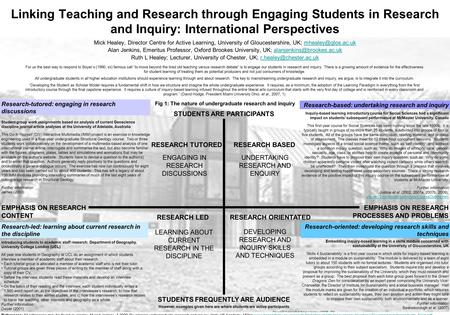 Linking Teaching and Research through Engaging Students in Research and Inquiry: International Perspectives Mick Healey, Director Centre for Active Learning,