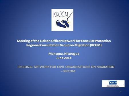 Meeting of the Liaison Officer Network for Consular Protection Regional Consultation Group on Migration (RCGM) Managua, Nicaragua June 2014 REGIONAL NETWORK.