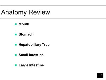 1 Anatomy Review Mouth Stomach Hepatobiliary Tree Small Intestine Large Intestine.