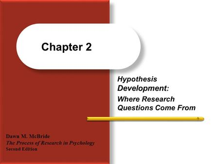 Hypothesis Development : Where Research Questions Come From Chapter 2 Dawn M. McBride The Process of Research in Psychology Second Edition.