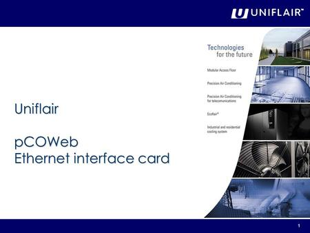 Uniflair pCOWeb Ethernet interface card.