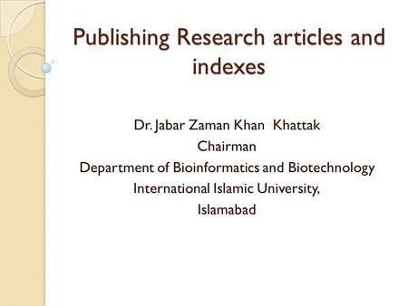 Publishing Research articles and indexes