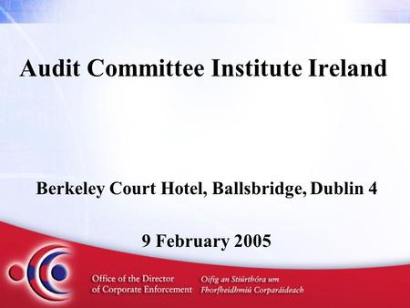 Audit Committee Institute Ireland Berkeley Court Hotel, Ballsbridge, Dublin 4 9 February 2005.
