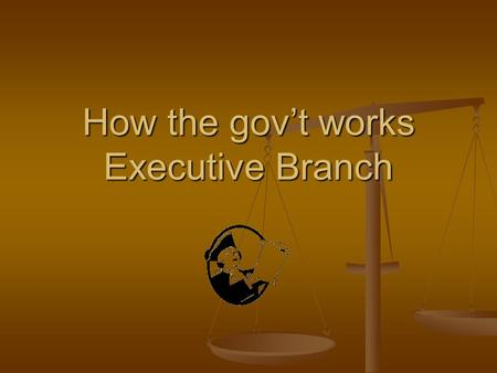 How the gov't works Executive Branch. ELECTING A PRESIDENT 4 YR TERM 4 YR TERM MAX 2 TERMS OR 10 YEARS MAX 2 TERMS OR 10 YEARS Age 35 Age 35 Natural Born.