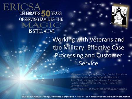 Working with Veterans and the Military: Effective Case Processing and Customer Service Margaret Campbell Haynes, Esq., Senior Associate with the Center.