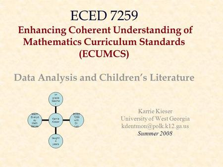 ECED 7259 Enhancing Coherent Understanding of Mathematics Curriculum Standards (ECUMCS) Data Analysis and Children's Literature Karrie Kieser University.