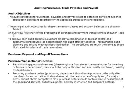 1 Auditing Purchases, Trade Payables and Payroll 1 Audit Objectives The audit objectives for purchases, payables and payroll relate to obtaining sufficient.