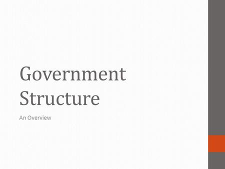 Government Structure An Overview. How is the Federal Government Structured? 3 branches Legislative Executive Judicial 3 branches Congress President Supreme.