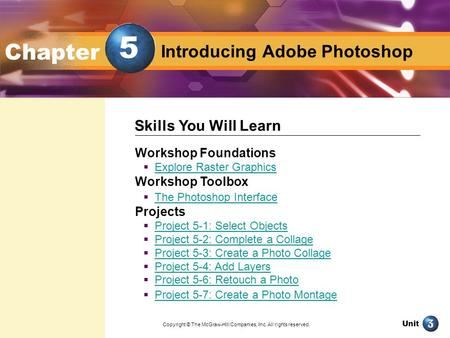 Unit Design with Adobe Photoshop Introducing Adobe Photoshop Chapter Workshop Foundations  Explore Raster Graphics Explore Raster Graphics Workshop Toolbox.