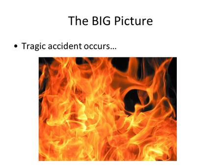 The BIG Picture Tragic accident occurs…. What would you teach?? Would you know what to do? How would you determine what to teach? Level 1? Level 2? Level.