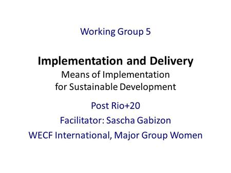 Working Group 5 Implementation and Delivery Means of Implementation for Sustainable Development Post Rio+20 Facilitator: Sascha Gabizon WECF International,