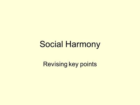 Social Harmony Revising key points. Roles of Men and Women Growth of equal rights for women: –Women can: –keep property separate from husband –Stand as.