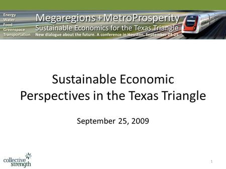 1 Sustainable Economic Perspectives in the Texas Triangle September 25, 2009.