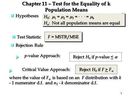 1 Chapter 11 – Test for the Equality of k Population Means nRejection Rule where the value of F  is based on an F distribution with k - 1 numerator d.f.