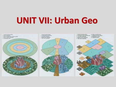 UNIT VII: Urban Geo. Central places: service centers for local hinterlands Transportation centers: break-of-bulk functions Specialized-function cities: