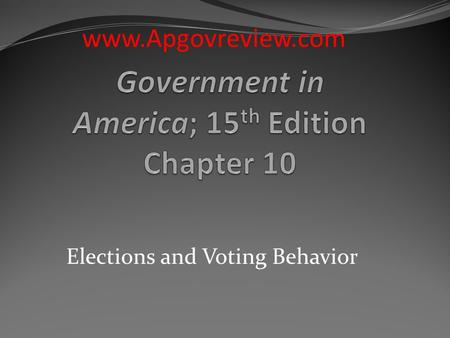 Elections and Voting Behavior www.Apgovreview.com.
