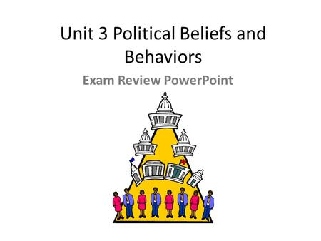 Unit 3 <strong>Political</strong> Beliefs <strong>and</strong> Behaviors Exam Review PowerPoint.