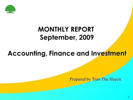 1 MONTHLY REPORT September, 2009 Accounting, Finance and Investment Prepared by Tran Thu Huyen.