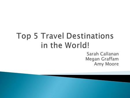 Sarah Callanan Megan Graffam Amy Moore.  We created a web page designed to inform users about our top five travel destinations. We provided information.