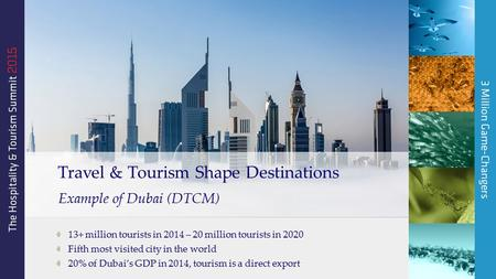 13+ million tourists in 2014 – 20 million tourists in 2020 Fifth most visited city in the world 20% of Dubai's GDP in 2014, tourism is a direct export.