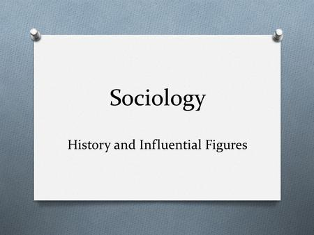 Sociology History and Influential Figures. What is Sociology? Sociology – the systematic study of society and social interaction Derived from the Latin.