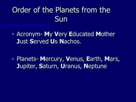 Order of the Planets from the Sun