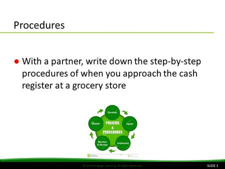 © 2014 Cengage Learning. All Rights Reserved. Procedures ●With a partner, write down the step-by-step procedures of when you approach the cash register.