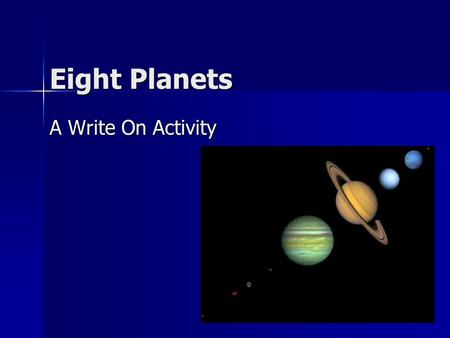 Eight Planets A Write On Activity.