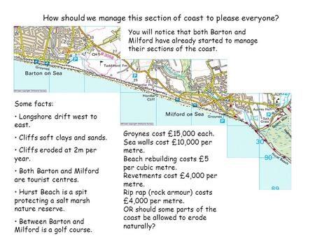 How should we manage this section of coast to please everyone? Some facts: Longshore drift west to east. Cliffs soft clays and sands. Cliffs eroded at.