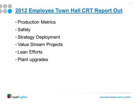 | 1 2012 Employee Town Hall CRT Report Out Production Metrics Safety Strategy Deployment Value Stream Projects Lean Efforts Plant upgrades.
