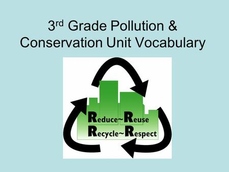 3 rd Grade Pollution & Conservation Unit Vocabulary.