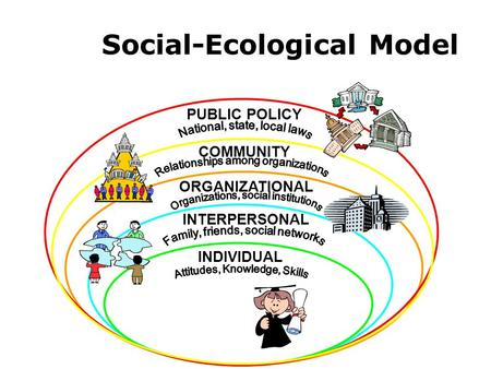 PUBLIC POLICY COMMUNITY ORGANIZATIONAL INTERPERSONAL INDIVIDUAL Social-Ecological Model.