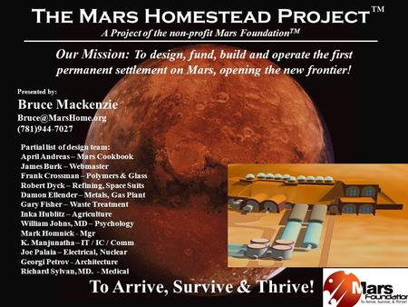 mars homestead project essay We are a custom essay writing service provider with an aim of assisting students in their academic endeavors we achieve this by employing professional writers who draft quality papers for.