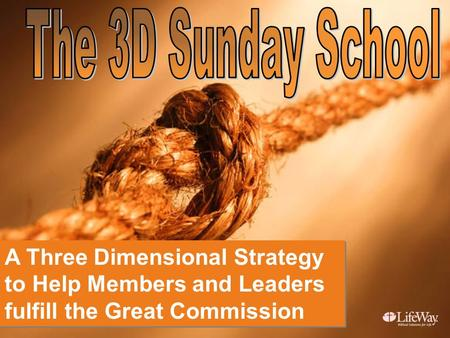 A Three Dimensional Strategy to Help Members and Leaders fulfill the Great Commission A Three Dimensional Strategy to Help Members and Leaders fulfill.