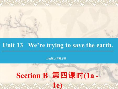 Section B 第四课时 (1a - 1e) Unit 13 We're trying to save the earth. 人教版 九年级下册.