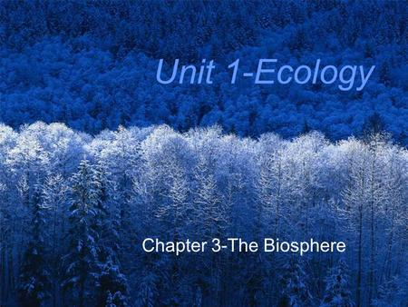 Unit 1-Ecology Chapter 3-The Biosphere. Ecology Study of interactions among organisms & between organisms and their environment.