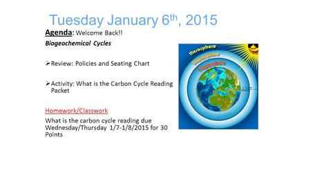 Tuesday January 6 th, 2015 Agenda: Welcome Back!! Biogeochemical Cycles  Review: Policies and Seating Chart  Activity: What is the Carbon Cycle Reading.
