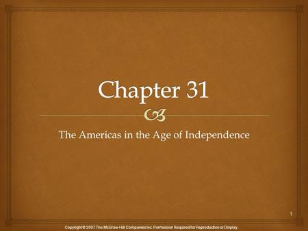 The Americas in the Age of Independence