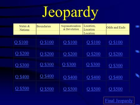 Jeopardy States & Nations Boundaries Supranationalism & Devolution Location, Location Location Odds and Ends Q $100 Q $200 Q $300 Q $400 Q $500 Q $100.