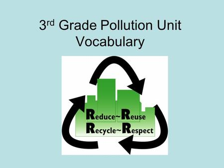 3 rd Grade Pollution Unit Vocabulary. Vocabulary in 3 rd Grade Pollution Unit Nonrenewable ResourcesReuse Renewable ResourcesReduce Natural ResourcesRecycle.
