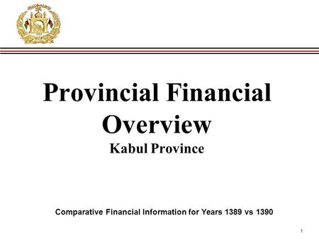 1 Provincial Financial Overview Kabul Province Comparative Financial Information for Years 1389 vs 1390.