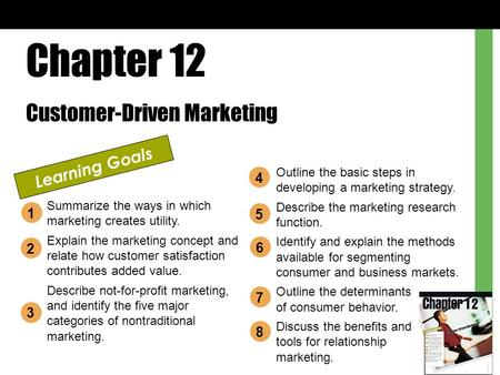 Chapter 12 Customer-Driven Marketing Learning Goals Summarize the ways in which marketing creates utility. Explain the marketing concept and relate how.