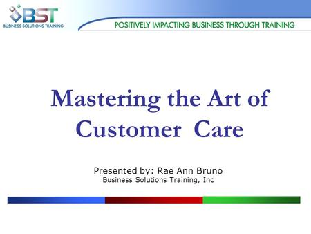 Mastering the Art of Customer Care Presented by: Rae Ann Bruno Business Solutions Training, Inc.
