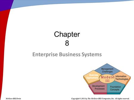 Enterprise Business Systems Chapter 8 McGraw-Hill/IrwinCopyright © 2011 by The McGraw-Hill Companies, Inc. All rights reserved.