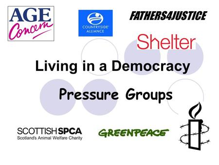 Living in a Democracy Pressure Groups FATHERS4JUSTICE.