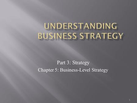 1 Part 3: Strategy Chapter 5: Business-Level Strategy.